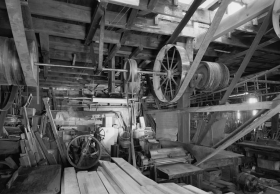 windmill factory interior, belts and pullies