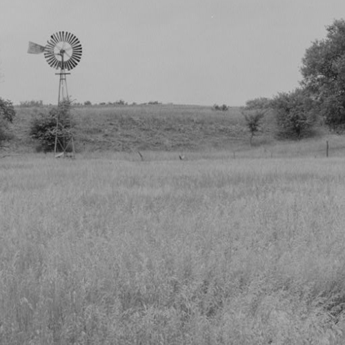 GENERAL VIEW OF ELI WINDMILL ON STEEL TOWER IN PASTURE LOCATED ABOUT 6-8 MILES SOUTH ...